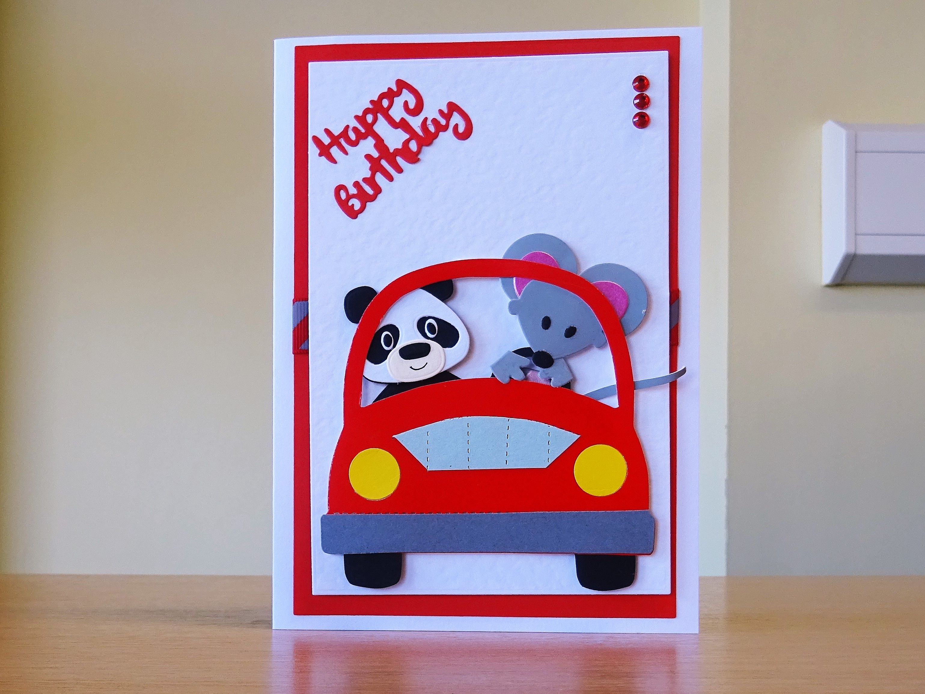 Birthday Card Handmade Sizzix Car Die With Marianne Panda Mouse