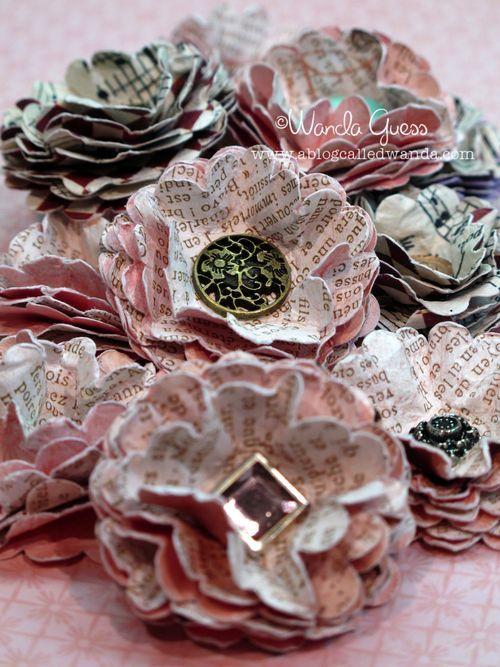 Vintage Look Paper Flowers Repurpose Recycle Diy Make It