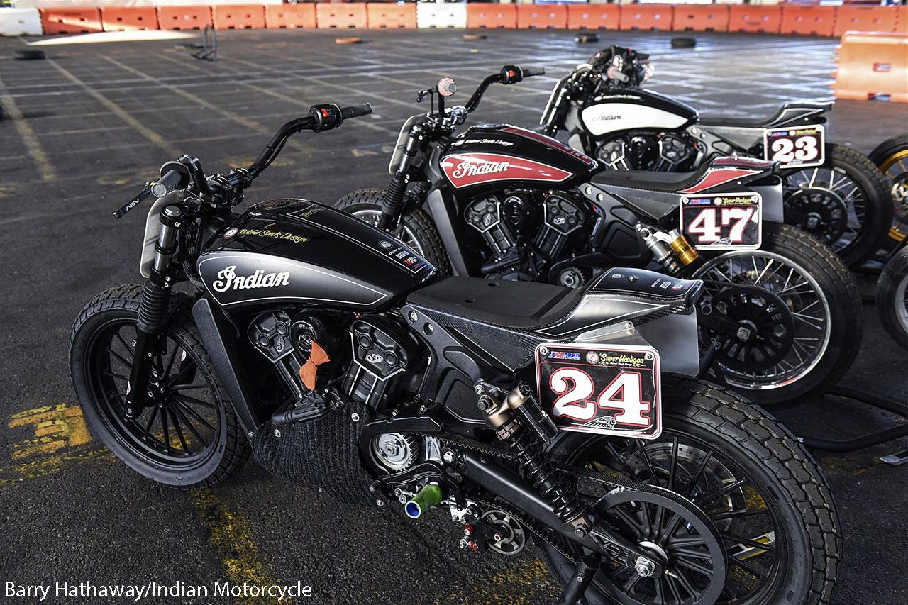 rsd superhooligan indian scout sixty flat trackers - motorcycle usa