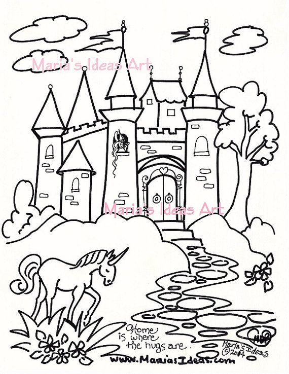 This Sweet Castle With Princess Unicorn And Frog Was Designed And Hand Drawn By My Own Hand This Was Not Create Coloring Pages How To Draw Hands Creating Art