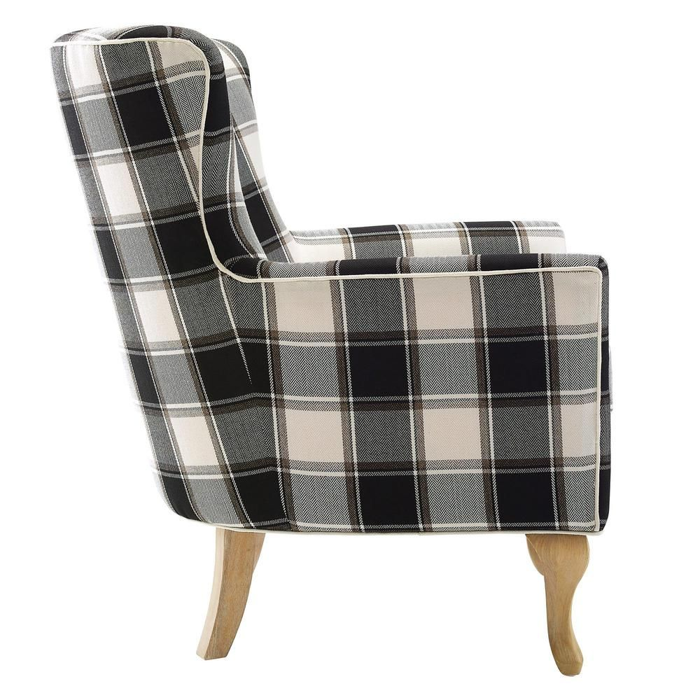 Best Dorel Emerie Black And White Checkered Pattern Accent 400 x 300