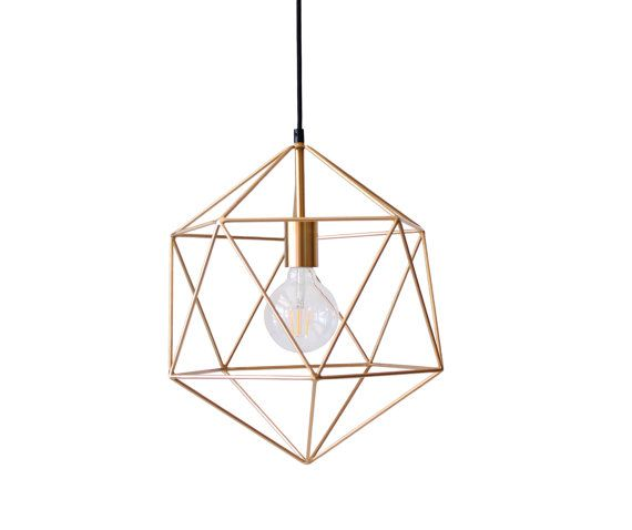 Luxury Gold Geometric Pendant Light Chandelier Handmade Hanging Light Polyhedron Industrial Lighting Modern Metal Cage Ceiling Lamp Globe Luxury - New small lantern pendant light Modern