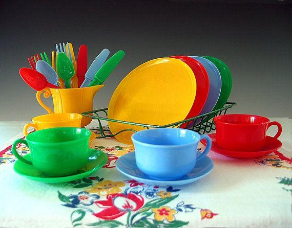 Vintage Childs Dish Set Plastic Toy Dishes Play Set Tea Set Children 1940s Vintage Kids Toys Toy Tea Set Childrens Tea Sets