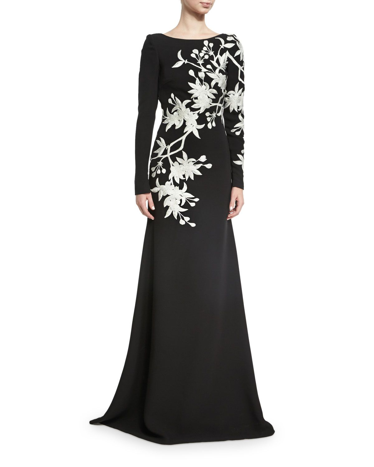 Neiman marcus dresses for weddings  FloralEmbroidered LongSleeve Gown BlackWhite  Long sleeve gown