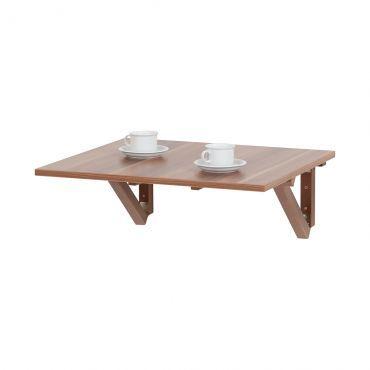 Table pliante murale Fresnes carrée Imitation noyer