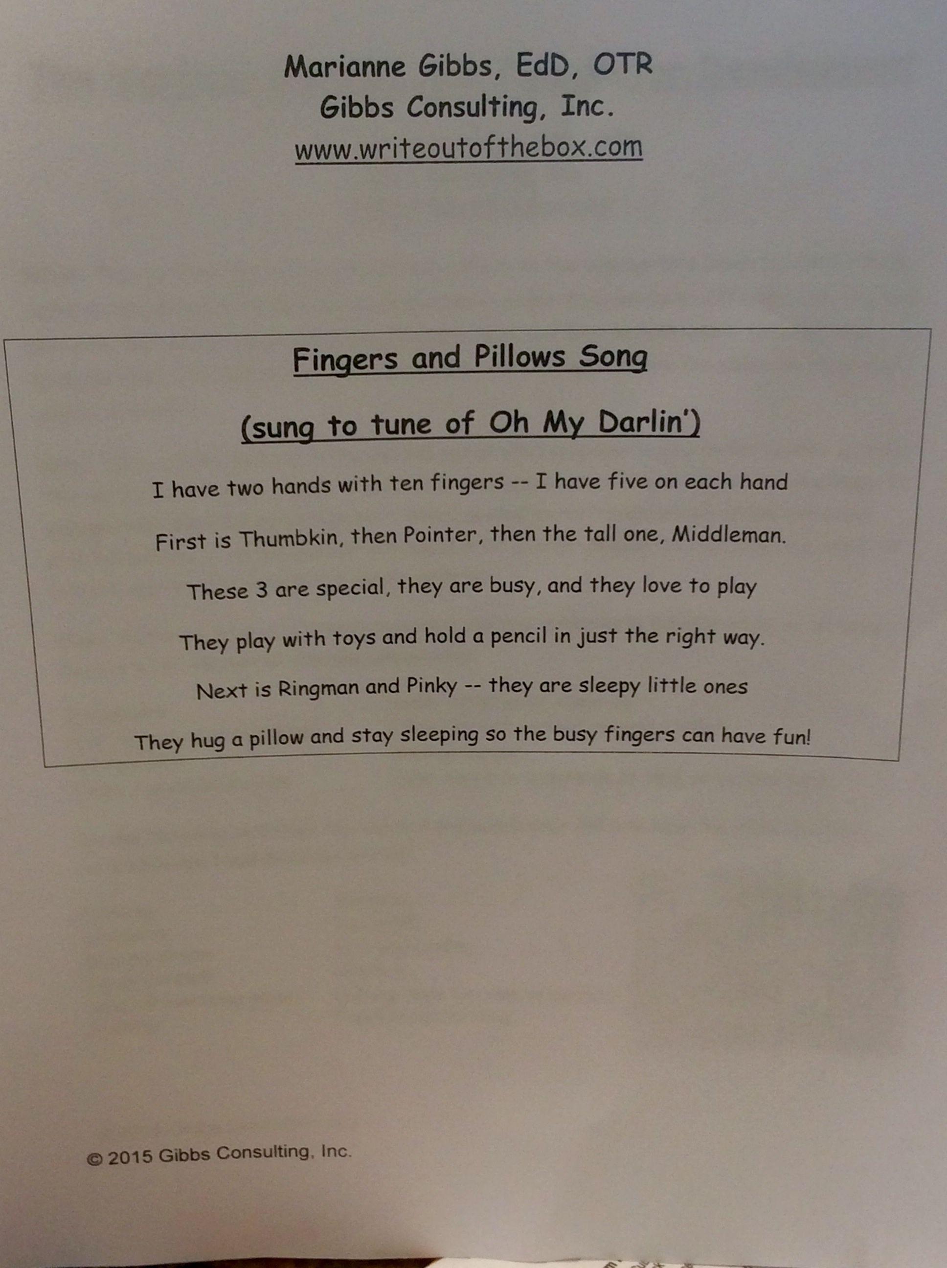 Teaching correct pencil grip through song