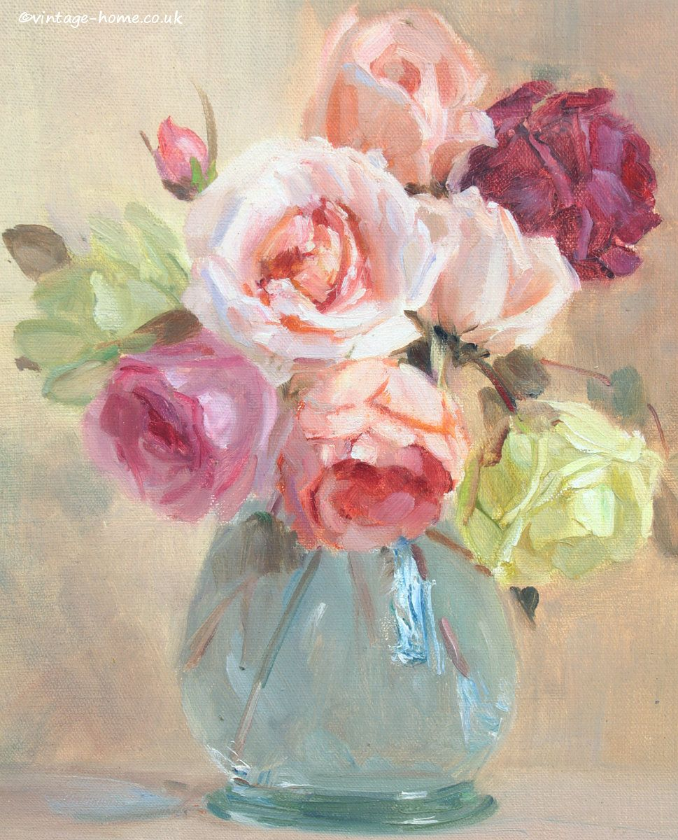 Vintage Home Shop Beautiful 1920s Roses Oil Painting By Nora H