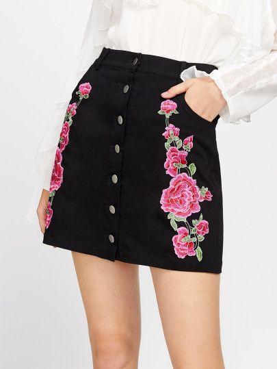 0a6c181d4 Falda simétrica de bordado de flor | D.R.E.S.S O.N.L.I.N.E | Faldas ...
