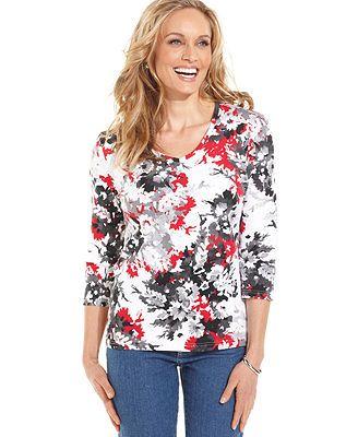 Karen Scott Three-Quarter-Sleeve Floral Top