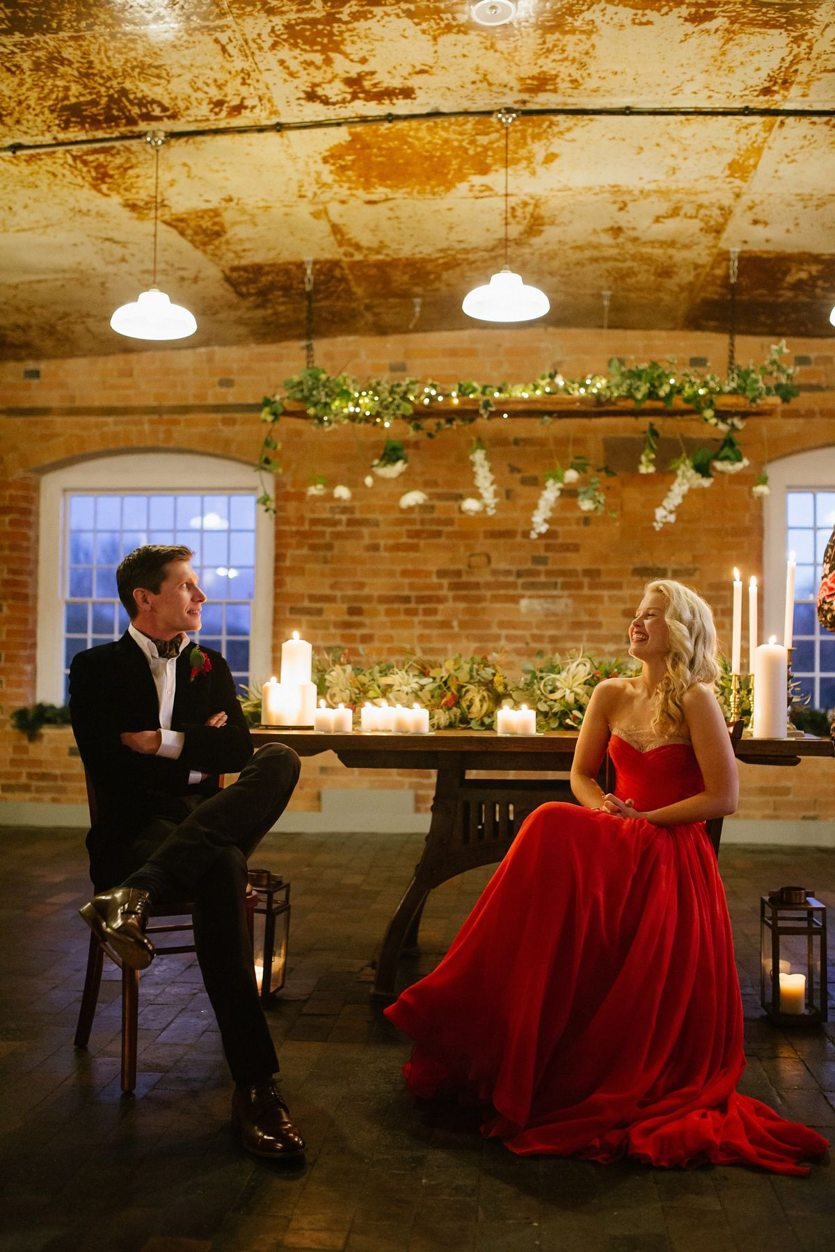 A red ballgown and old hollywood glamour for a candlelit winter