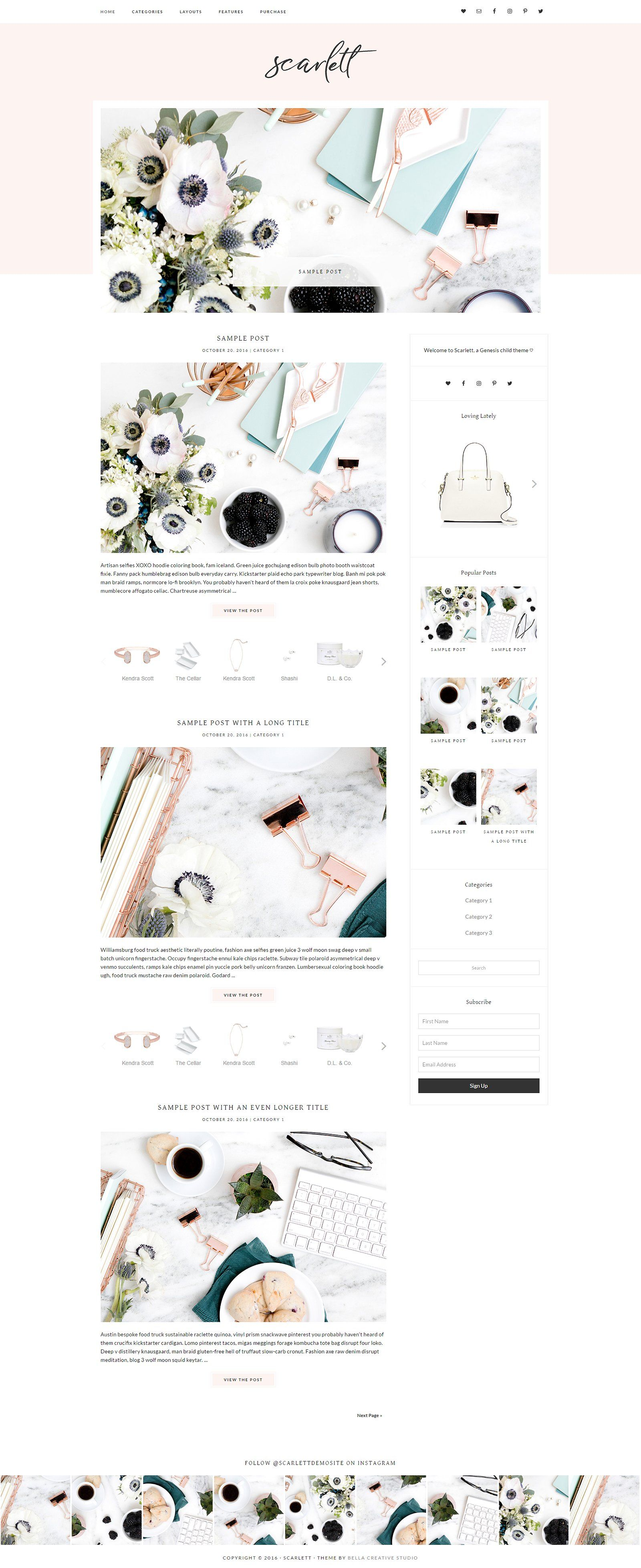 Scarlett WordPress Theme by Bella Creative Studio on