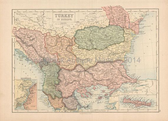 Bulgaria Romania Antique Map Black 1867 Authentic Romanian