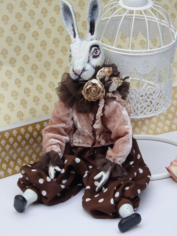 Doll Rabbit. Art of dolls Boudoir doll  Easter Bunny  Easter decor for home  Doll as a gift  Souvenir doll rabbit Vintage Bunny by MarinaKorsakDollArt on Etsy