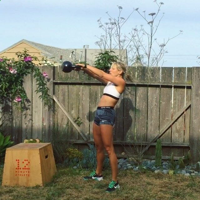 """172 Likes, 6 Comments - Krista Stryker (12 Minute Athlete) on Instagram: """"12 minute kettlebell HIIT workout: GO! 💪🔥 Grab a kettlebell and find a plyo box or a bench and set…"""""""