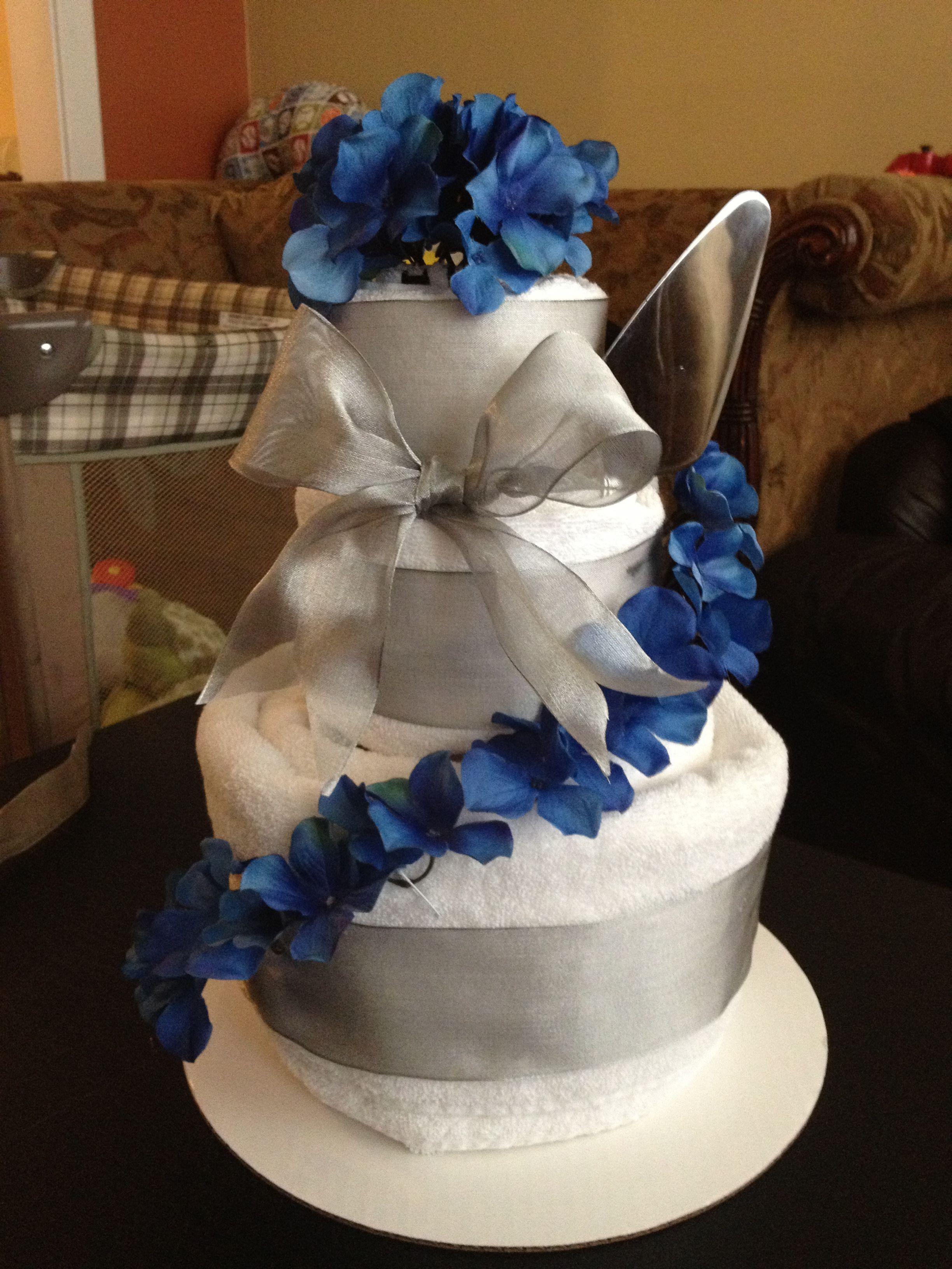 Wedding shower towel cake.:) it's quite simple.