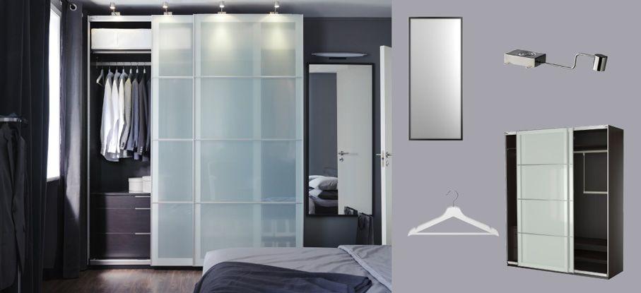 PAX black-brown wardrobe with SEKKEN frosted glass sliding doors ...