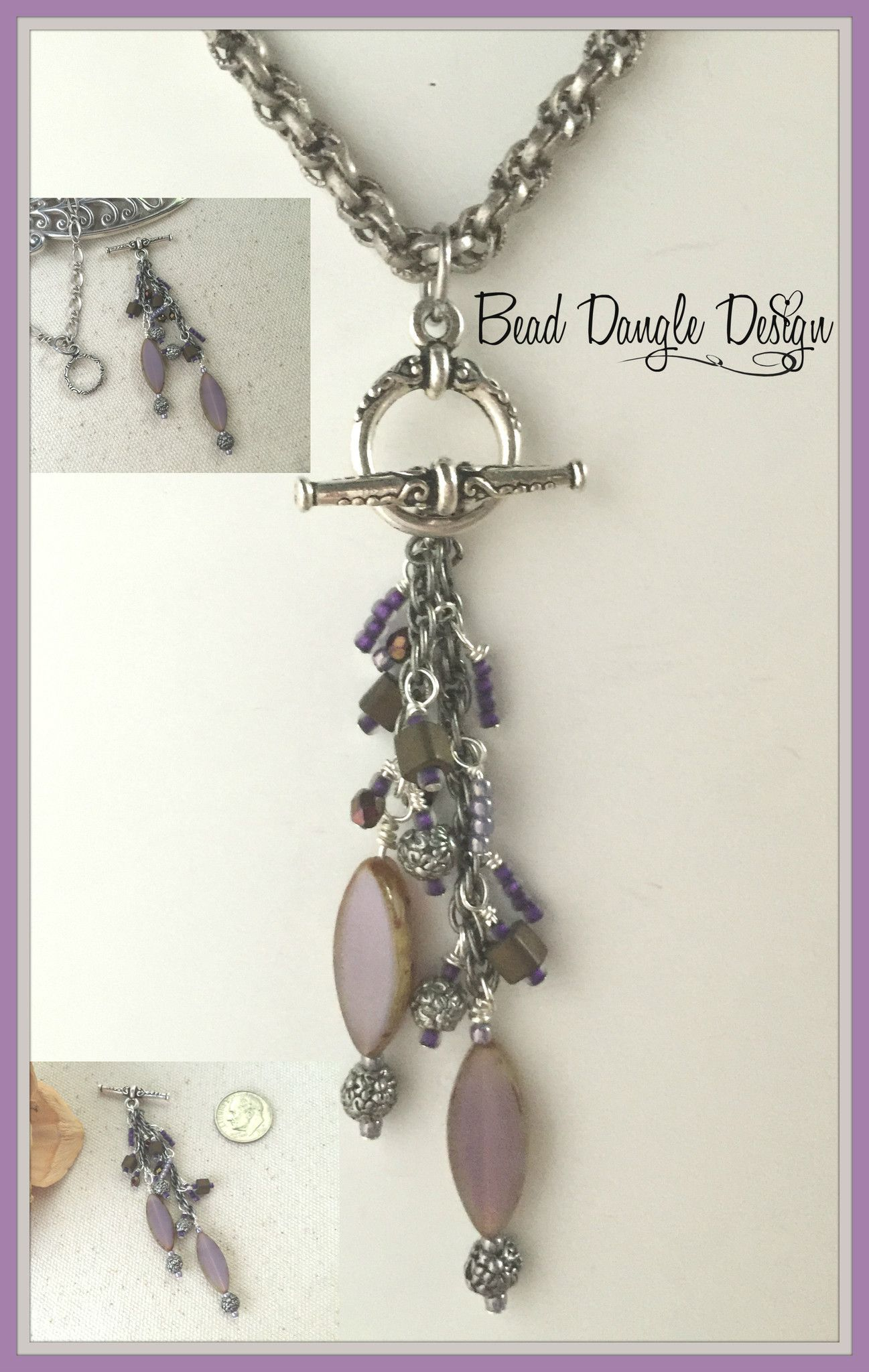 Lavender & Pewter Beaded Dangle Necklace #179