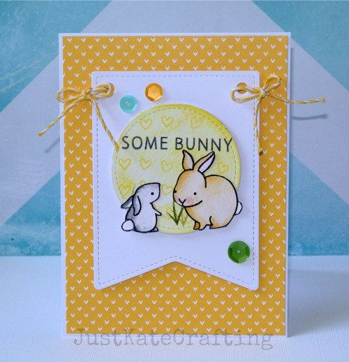 Lawn Fawn - Hello Baby, Stitched Party Banners, Let's Polka 6x6 paper, Lemon Lawn Trimmings _ super sweet card by Kate via Flickr - Photo Sharing!