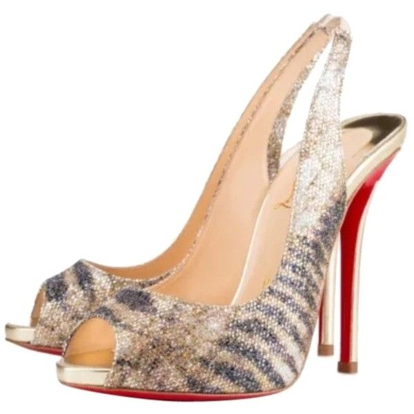 6fadefdfd950 Pre-owned Christian Louboutin Gamma Talon 120 (37.5eu) Glitter Pumps ( 845)  ❤ liked on Polyvore featuring shoes