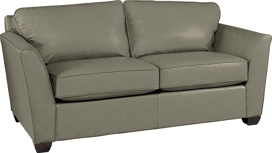 Lazboy Metro Apartment Size Leather Sofa In Grey El990954