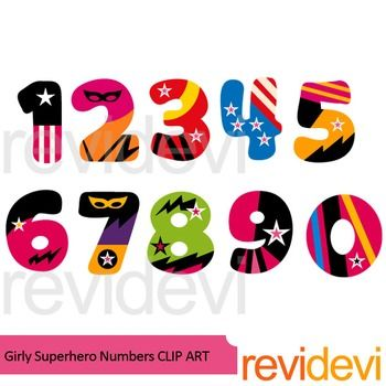 Girly superhero numbers clipart. Number 1,2,3,4,5,6,7,8,9, and also 0. A complete collection for math theme projects, or for any other creations. Also great for bulletin and mini poster creations.PLEASE NOTE:This is a clip art collection, and not text font.You can insert/ import this alphabet clip art to decorate your worksheet.This is not font, so you can't install it on your computer.