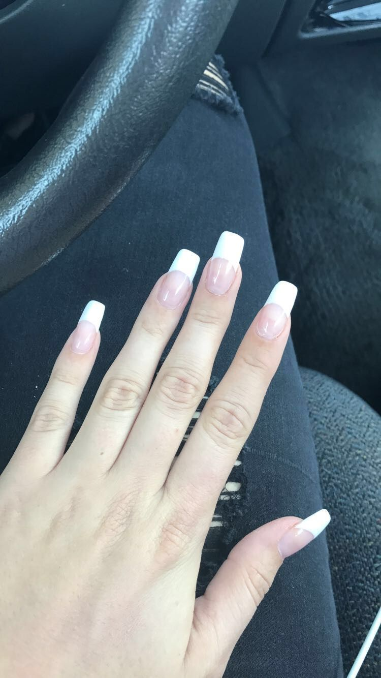 French tip acrylics, Long nails, Long acrylics, French tip, Classy ...