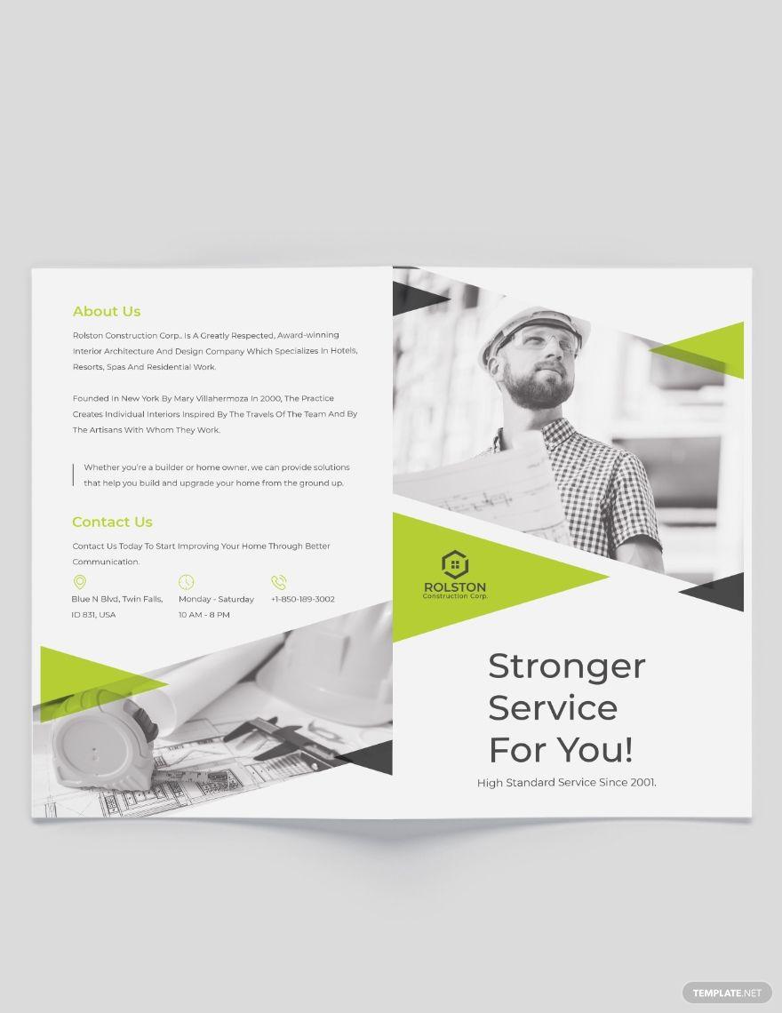 Civil Construction Company Bi-Fold Brochure Template