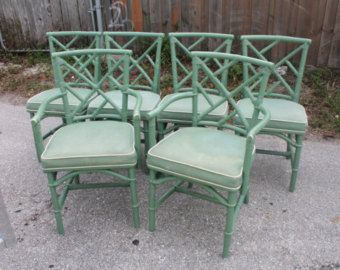 Vintage Set Of 6 Rattan Chinese Chippendale Chairs Side Arm Dining Faux Bamboo Chinoiserie Porch Patio Palm Beach We Could Have Them Refinished Painted