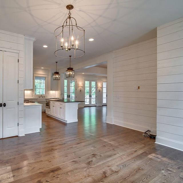 Kitchens Wood Plank Wall: Ship Lap Hearth Room Off The Kitchen And Living With A