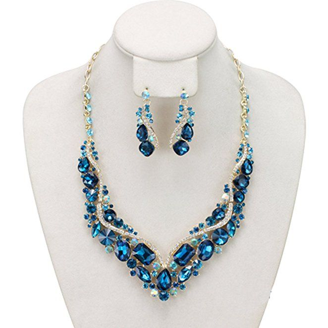 Pave Blue Rhinestone Charm Necklace and Earrings Jewelry Set in Gold-Tone