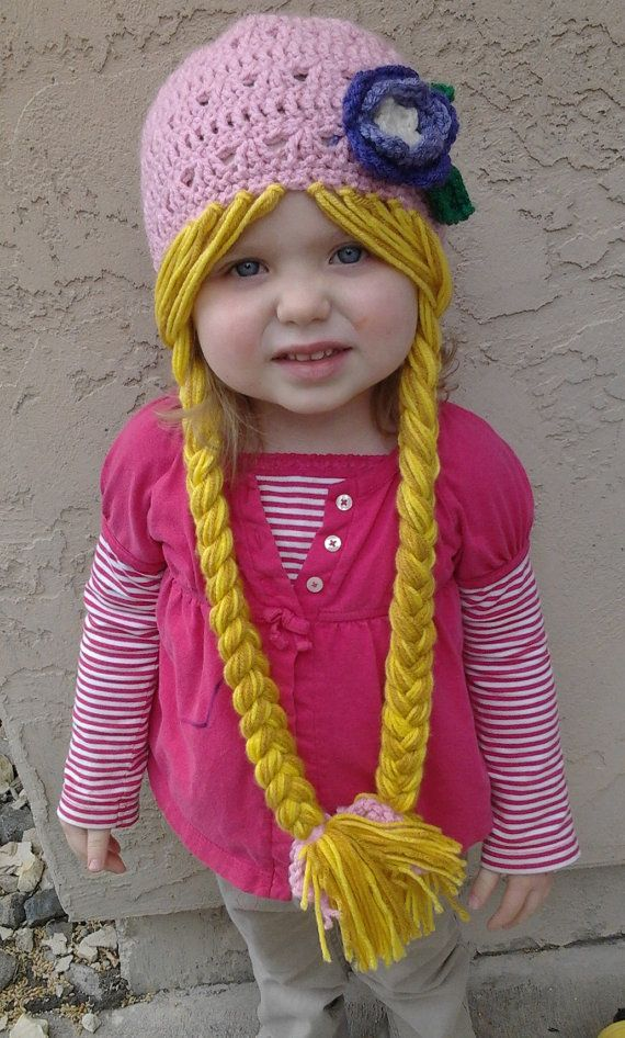 644e169e2e4 Pink Rapunzel Character Hat with Long Braids by Evermicha on Etsy