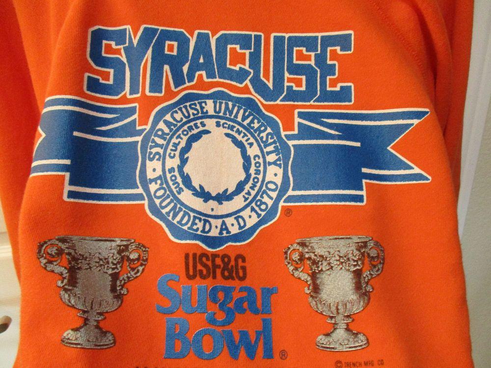 Original Vtg Large 1988 Syracuse University Orange Sugar Bowl NCAA Sweat Shirt L #Trench #SyracuseOrange