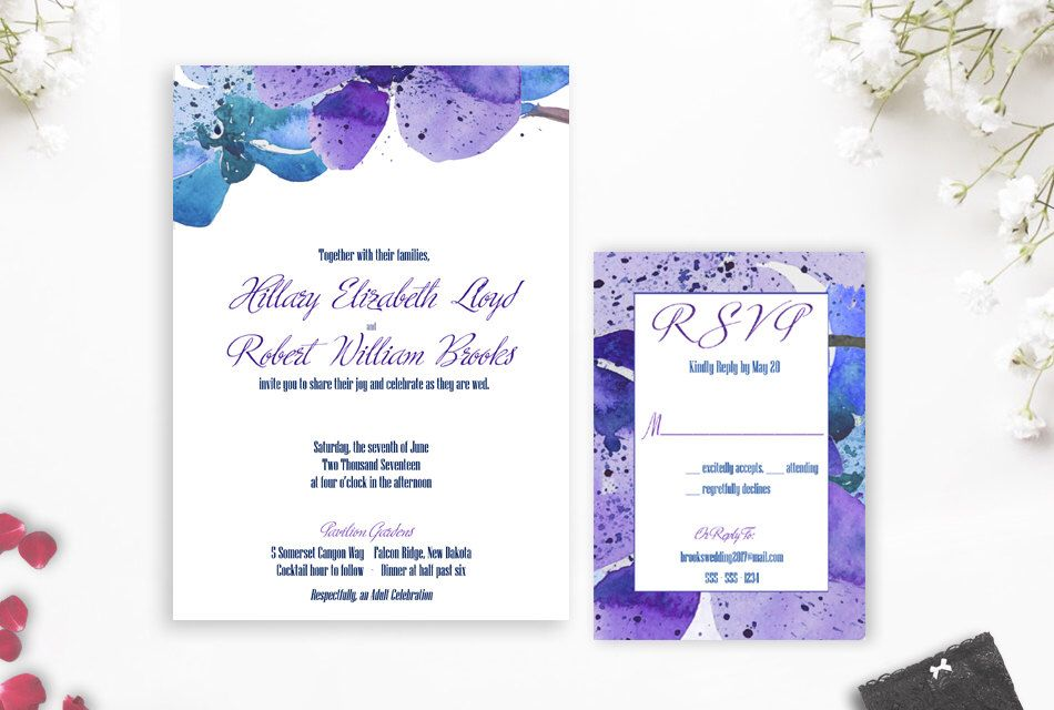 Dendrobium Orchid Wedding Invitation Blue Orchid Wedding