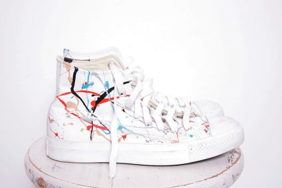 9c37f6e74f5e Custom Made Splatter Painted Vintage White Leather HighTop Converse  Sneakers Size 7. Street chic at its best!