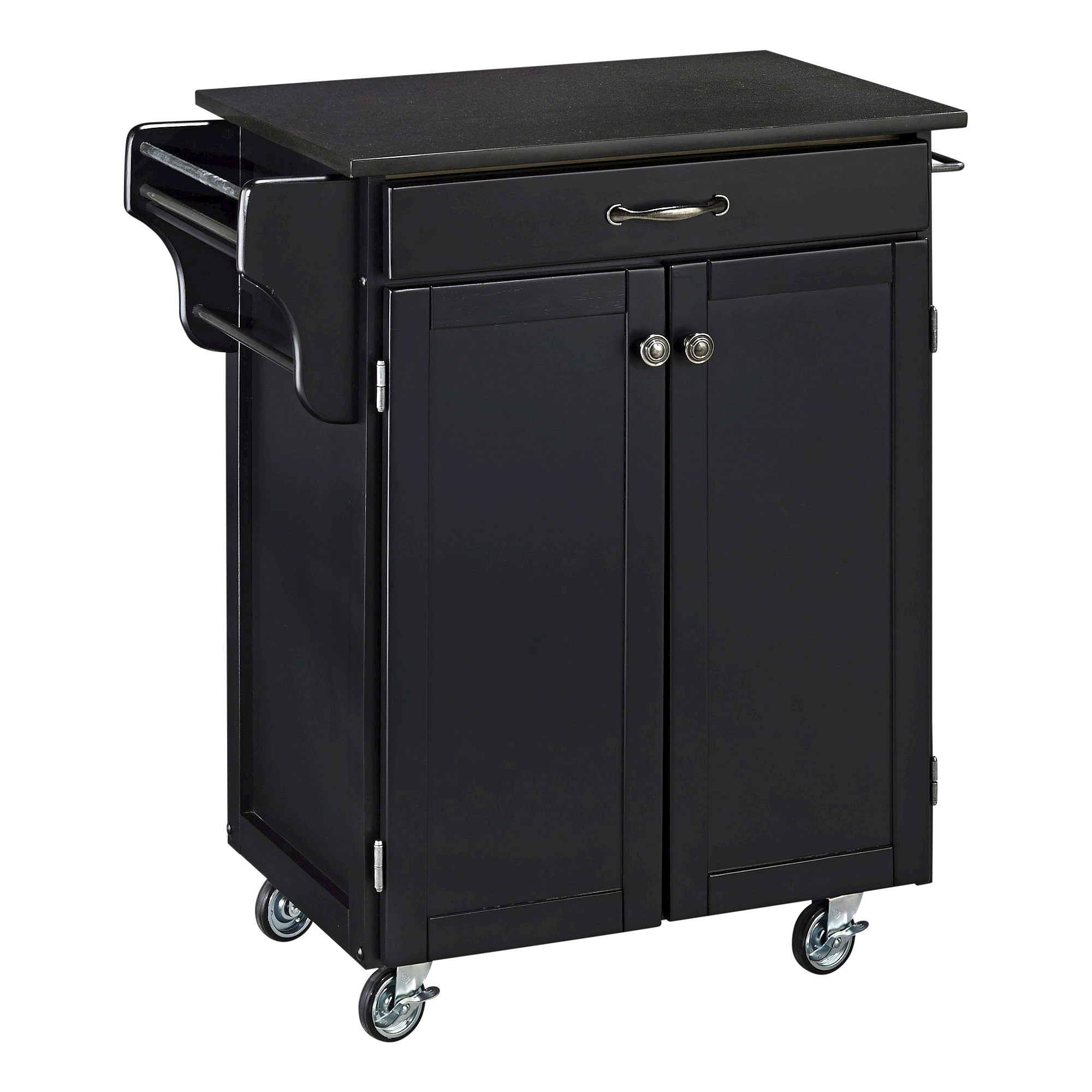 Home Styles Small Kitchen Cart with Granite Top Wood/Black