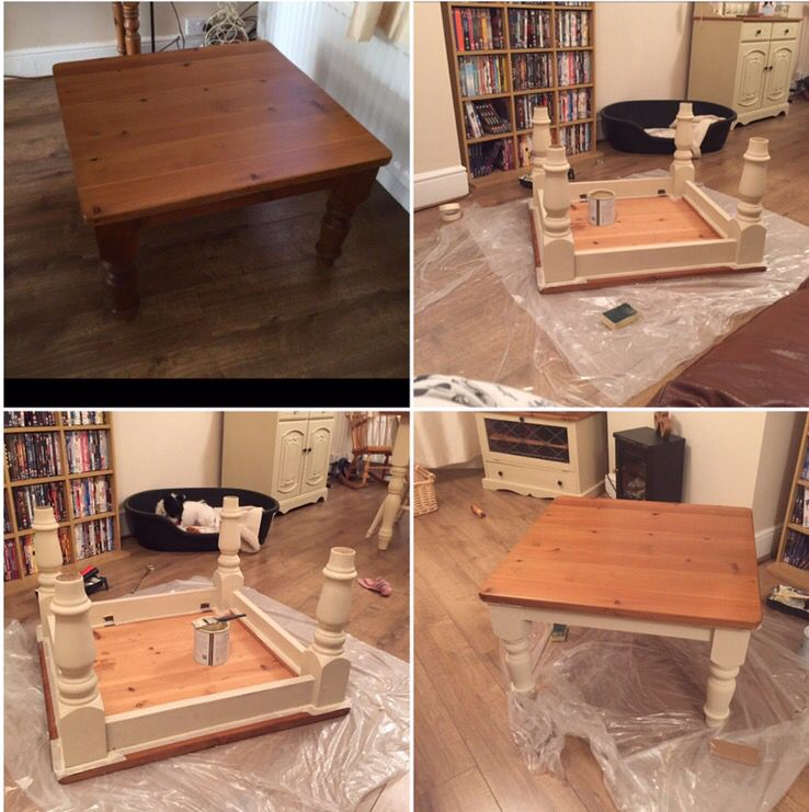Pine Coffee Table With Turned Legs: Gorgeous Pine Shabby Chic Coffee Table With Turned Legs. I