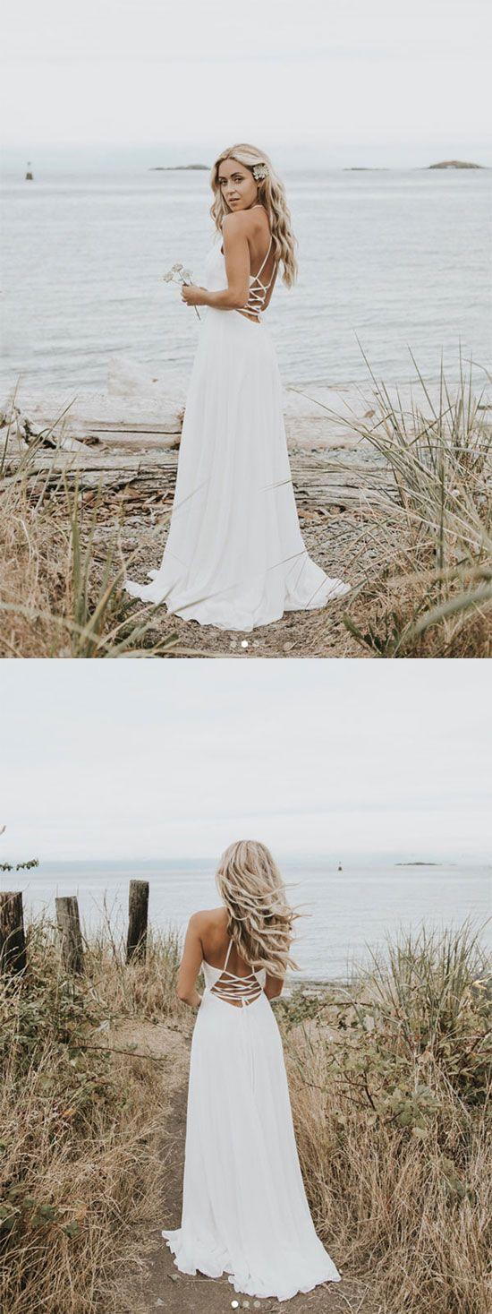 Simple white v neck chiffon long prom dress white evening dress