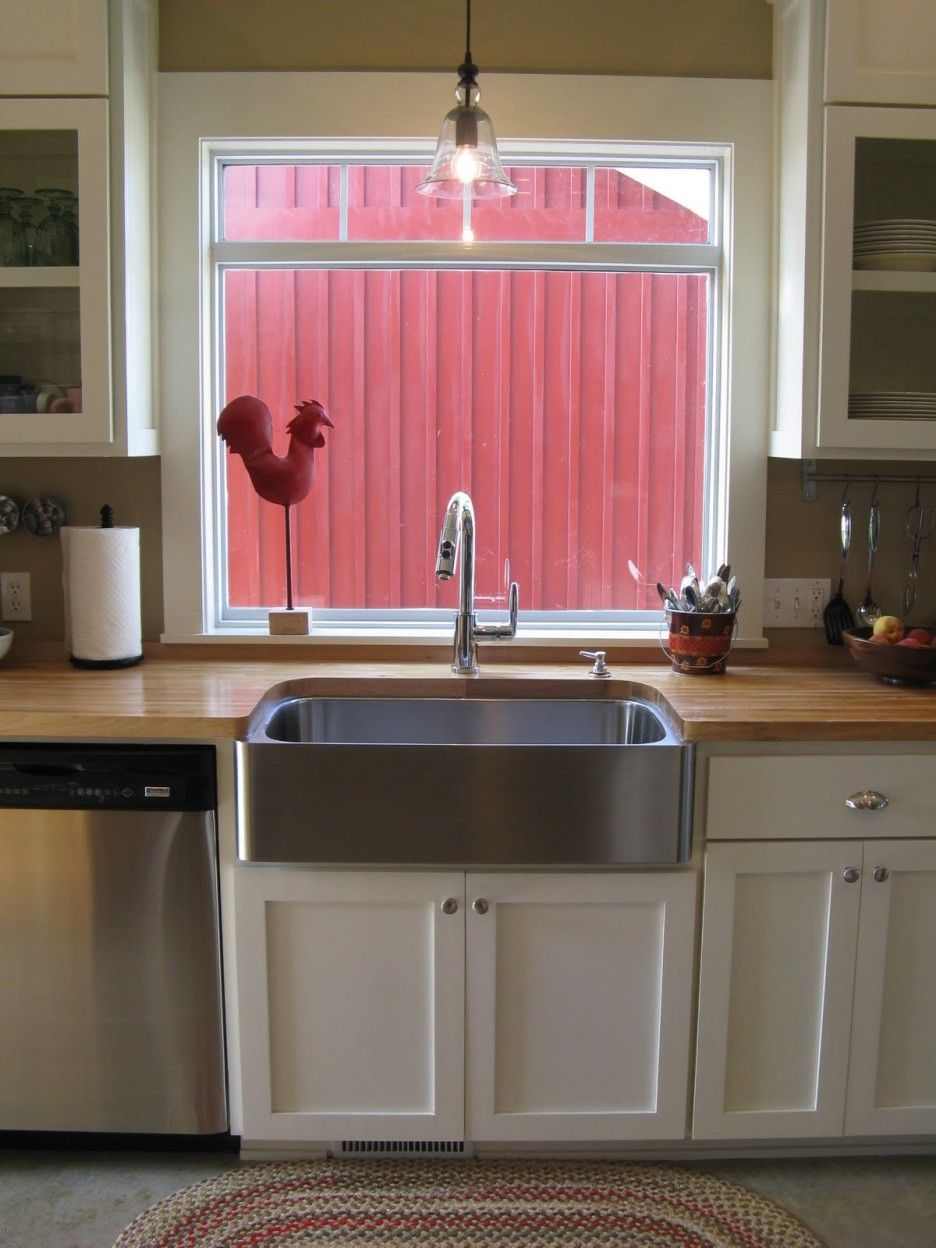 Image result for white kitchen stainless steel apron sink