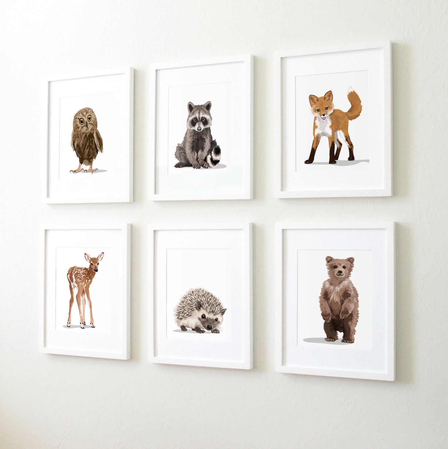 Woodland Nursery Art Baby Forest Animals Set Of Six Unframed Prints Childrens Artwork Rac Fox Owl Deer Bear Hedgehog By Paperllamas On