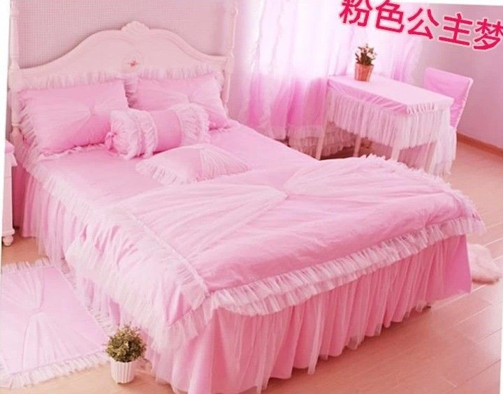 pas cher coton m m lit pcs enfants pcs princesse fille rose with lit fille but. Black Bedroom Furniture Sets. Home Design Ideas