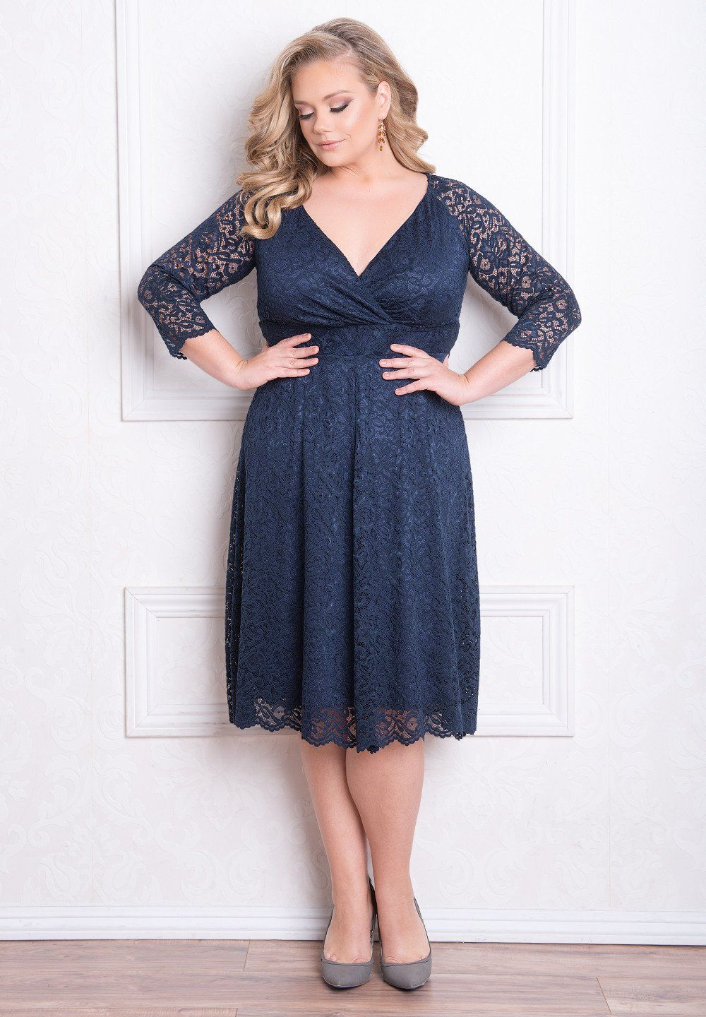 Plus size wedding guest dresses with sleeves  Francesca Lace Dress  Lace dress Navy and Clothes