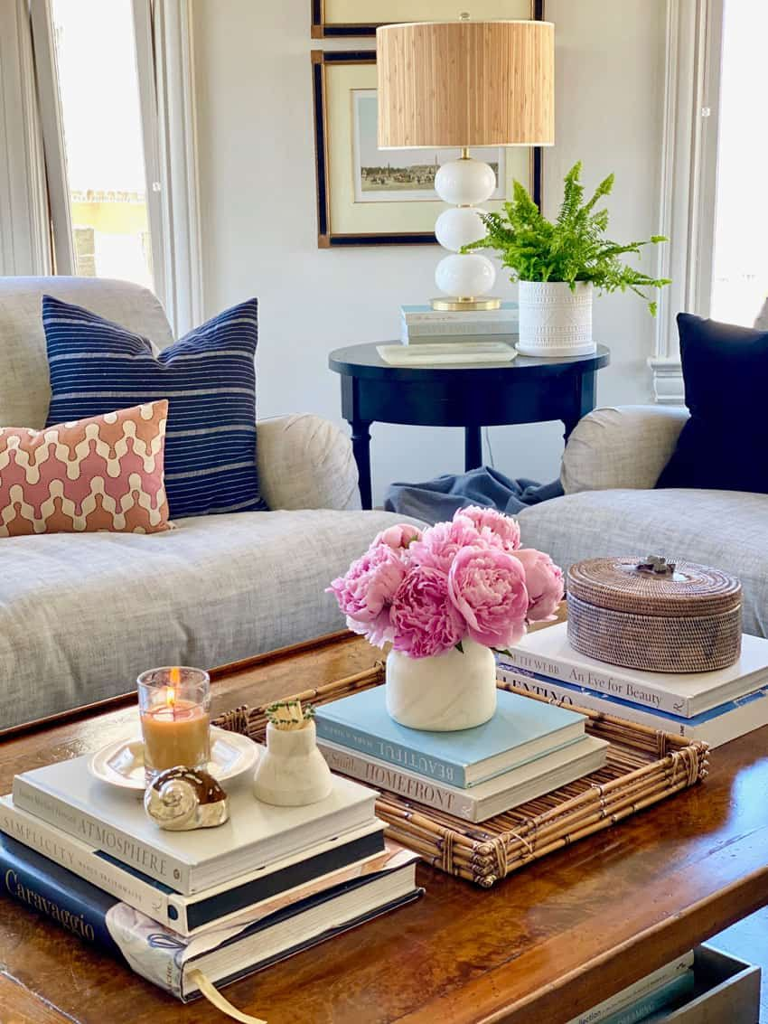 Tips For Five Minute Coffee Table Styling Classic Casual Home In 2020 Coffee Table Wood Coffee Table Decor Coffee Table Styling