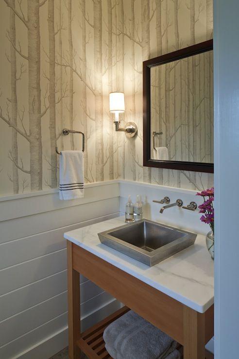 Metal Vessel Sink Contemporary Bathroom Hutker Architects Powder Room Small Powder Room Design Wood Wallpaper
