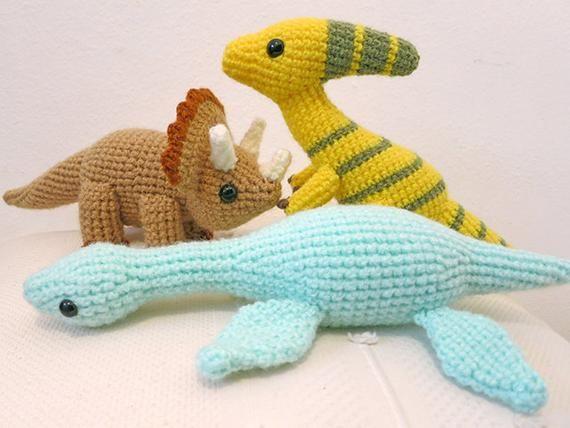 Crochet Dinosaur PATTERN BUNDLE 2 - Amigurumi Triceratops, Plesiosaurus,  Parasaurolophus Plush Dolls #crochetdinosaurpatterns