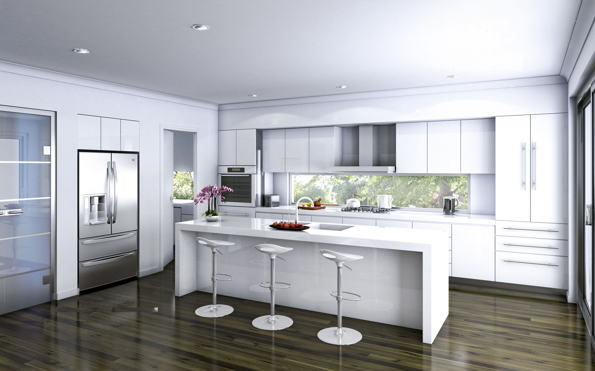 Modern White Kitchen Dark Floor kitchen island amazing kitchen designs with dark hardwood floor
