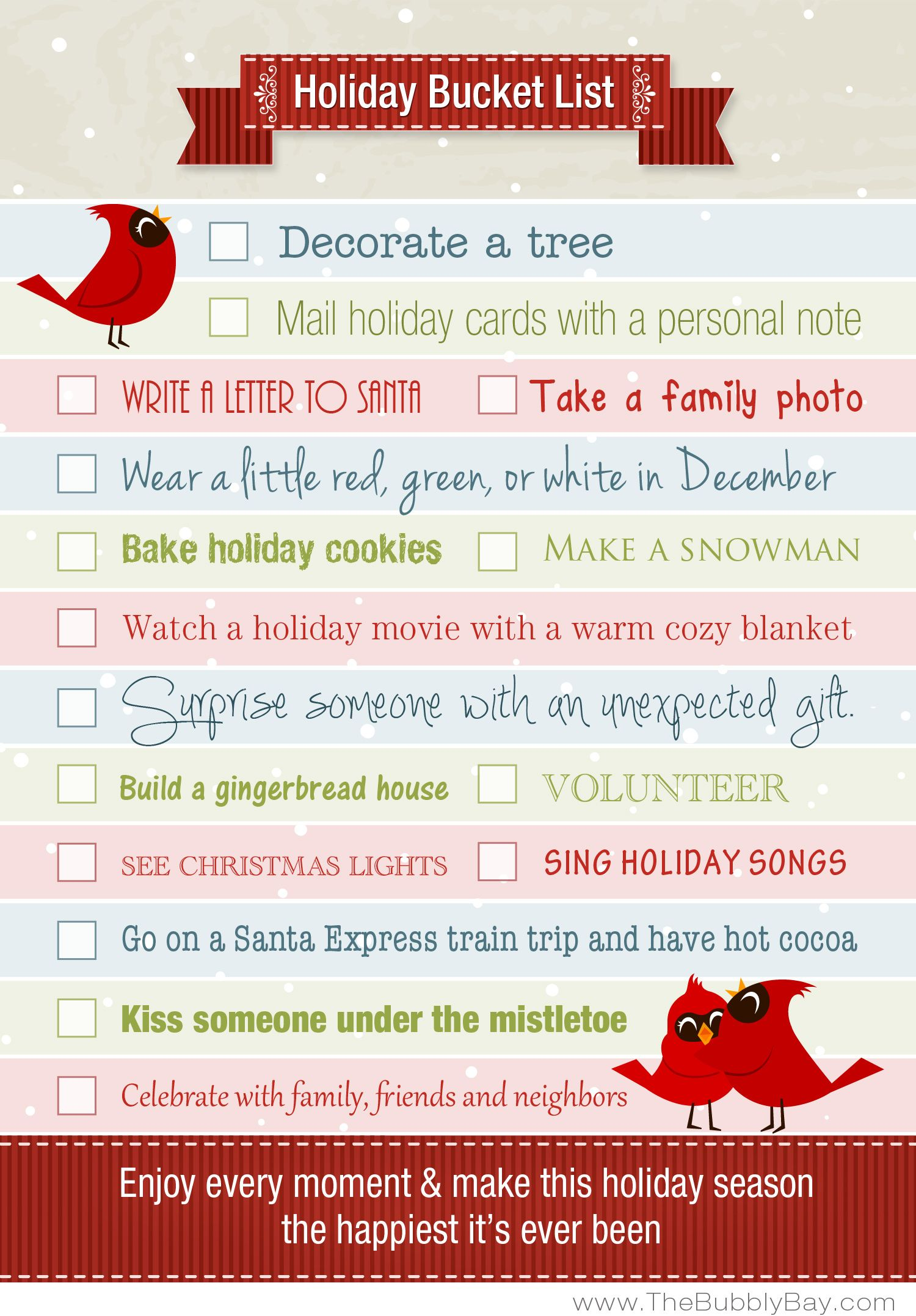 Holiday Bucket List Slow Down Enjoy The Simple Pleasures And