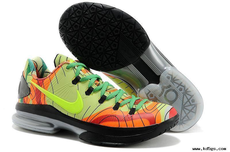 Fluorescence greenred nike kd v elite low nike kd shoes