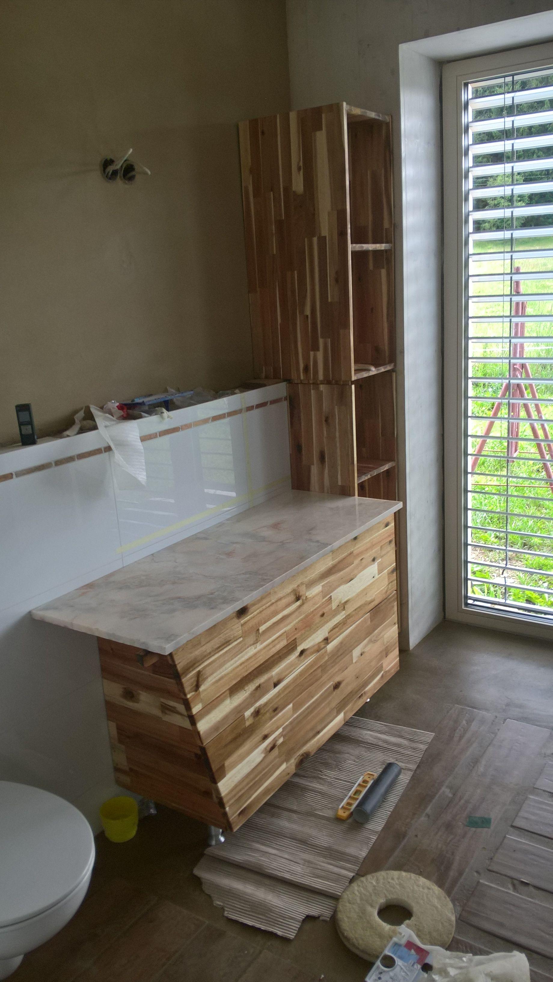 Badezimmermobel Im Eigenbau Akazienholz Geolt Lehmhaus Akazienholz Holz