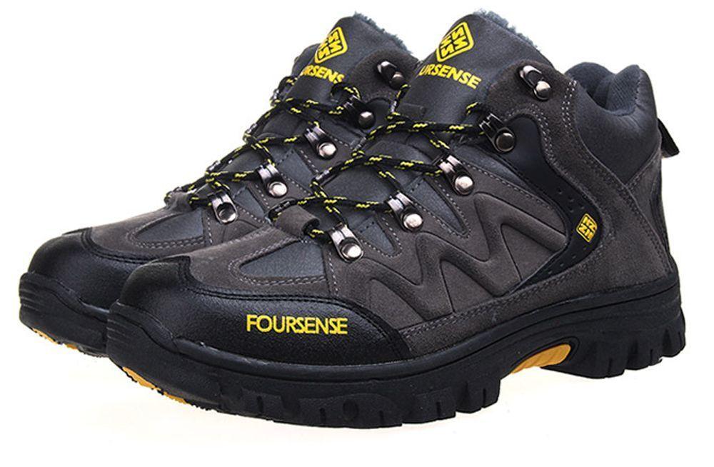 f9348dfba9e Four Sense Men Fur Warm Trekking Shoes Outdoors Hiking Boots Trail ...