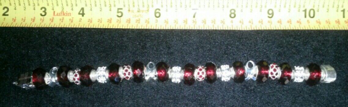 $25.00  Cancer Awareness Ribbon Bracelet  Burgundy Red